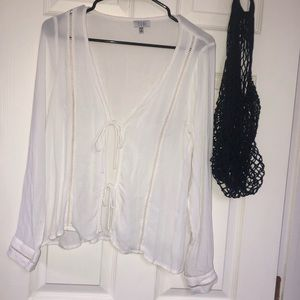 Off White Colored Tie Up Blouse